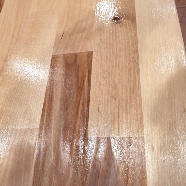 Sheen on butcher blocks after using Waterlox