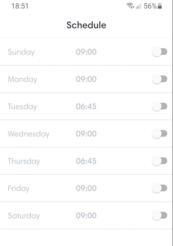 iRobot Schedule